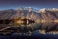 Картинка Швейцария, гладь, вода, отражение, снег, пристань, горы