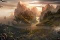 Картинка деревья, пейзаж, горы, река, скалы, азия, вид, дома, корабли, арт, храм, парусники