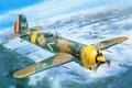 Картинка небо, земля, рисунок, поля, истребитель, арт, самолёт, леса, WW2, цельнометаллический, низкоплан, румынский, IAR - 81C
