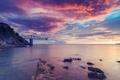 Картинка colorful, rock, sky, ocean, nature, water, beautiful, clouds, dreams