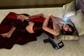 Картинка оружие, Ada Wong, постель, fanart, кровать, подушки, девушка, gun, Resident Evil, pistol, Biohazard, ноги, значок, ...