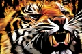 Картинка пламя, тигр, оскал, огонь
