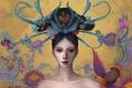 Картинка девушка, птица, арт, art