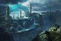 Картинка башни, Michal Matczak, арт, водопад, арка, люди, город, вид, пейзаж, скалы, обрыв
