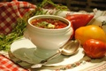 Картинка салфетка, борщ, ложка, овощи, блюдо