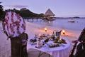 Картинка paradise, Bora-Bora, dinner, романтика, пляж, romantic, вечер, океан, ocean, ужин, evening