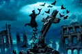 Картинка Romantically Apocalyptic, тучи, вороны, alexiuss, руины, zee captain, крест, птицы, человек, распятие, облака, небо, табуретка