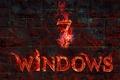 Картинка пламя, windows, операционная система. текстура, текст, компьютер, стена, огонь