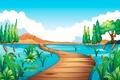 Картинка река, мост, камыш