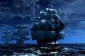Картинка Море.волны, корабли, флот, паруса, мачты, строй