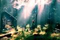 Картинка девушка, бабочки, елки, хижина, грибы, лес