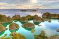 Картинка море, острова, тропики, пальмы, корабли, яхты, горизонт, Индонезия