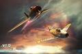 Картинка War Thunder, Полет, Небо, Рисунок, АРТ, Микоян, МиГ-15, истребитель, Корея, Fagot, Гуревич, F-86, Два, Нос