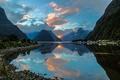 Картинка горы, отражение, Новая Зеландия, залив, New Zealand, фьорд, Milford Sound, Милфорд-Саунд