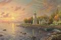 Картинка вечер, беседка, штиль, осень, Lake Erie, Thomas Kinkade, лодка, painting, живопись, Томас Кинкейд, озеро, Эри, ...