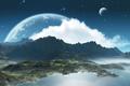 Картинка заход, луна, небо, облака