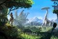 Картинка Horizon: Zero Dawn, Sony Computer Entertainment, Небо, Горы, Лук, Деревья, PlayStation 4, Guerrilla Games, Охотник, ...