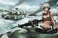 Картинка Девушка, танк, пулемет, снег