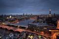 Картинка ночь, город, огни, река, вид, Англия, Лондон, здания, высота, небоскребы, выдержка, освещение, панорама, Великобритания, Темза, ...