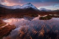 Картинка озёра, горы, зима, долина Гленко, юго-запад Хайленда, вечер, Шотландия, небо, трава, облака