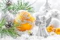 Картинка шарики, украшения, ангел, игрушки, шишка, ветки