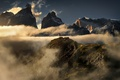 Картинка грандиозно, Патагония, снег, обои от lolita777, горы, туман, вершины, человек, Анды, вид, облака, высота, турист
