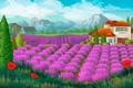 Картинка дом, горы, поле, маки, лаванда, пейзаж