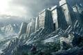 Картинка воин, снег, горы, Замок