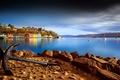 Картинка берег, залив, Tobermory Harbour, город, якорь