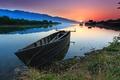Картинка природа, пруд, лодка