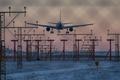 Картинка winter, airplane, dusk, landing