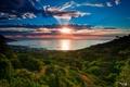 Картинка зима, море, небо, солнце, облака, лучи, деревья, океан, бухта, Южная Африка, Кейптаун, январь, Camps Bay, ...