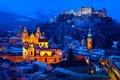 Картинка снег, горы, зима, Австрия, дома, замок, огни, ночь, Зальцбург