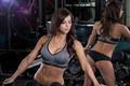 Картинка model, mirror, fitness, gym, dumbbell