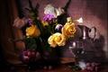 Картинка Розы, Натюрморт, Пионы, Кувшин, Ваза, фото, Цветы, Виноград, Бокалы