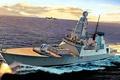 Картинка море, берег, рисунок, корабль, номер, боевой, эскадренный, миноносец, бортовой, D32. ВМС Великобритании, «HMS Daring»