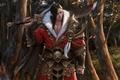 Картинка лес, листья, деревья, оружие, меч, арт, мех, броня, парень, в красном, кисти, азиат, choi keun ...