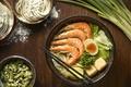 Картинка яйцо, суп, креветки, овощи