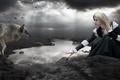Картинка girl, photomanipulation, dark, lake, Wolf