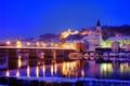 Картинка огни, река, вечер, германия, город