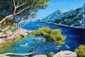 Картинка картина, Jean-Marc Janiaczyk, горы, яхта, арт, свет, деревья, берега, море, лагуна, лодки, ветки, пейзаж