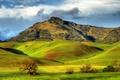 Картинка луга, поля, горы, Santa Ana Valley, зелень, холмы, солнце, Калифорния, облака, США