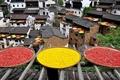 Картинка крыша, Китай, перец, сушка, хризантемы, блюдо, Цзянси
