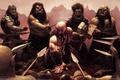 Картинка Dwarf barbarian, дварф, молот, окружение, кровь, битва, steve argyle