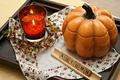 Картинка decor, candle, autumn, decoration, tray, photography, pumpkin