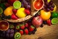 Картинка ягоды, яблоки, апельсины, клубника, виноград, лайм, фрукты, ежевика