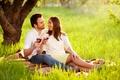 Картинка природа, вино, отдых, романтика, пара, пикник, двое