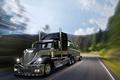 Картинка грузовик, дорога, трубы, решетка, кабина