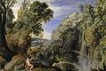 Картинка скала, картина, Пауль Бриль, Пейзаж с Психеей и Юпитером, мифология, водопад, деревья