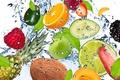 Картинка авокадо, apple, брызги, абрикос, малина, свежесть, pineapple, lemon, лимон, spray, яблоко, кокос, фрукты, blackberry, fresh, ...